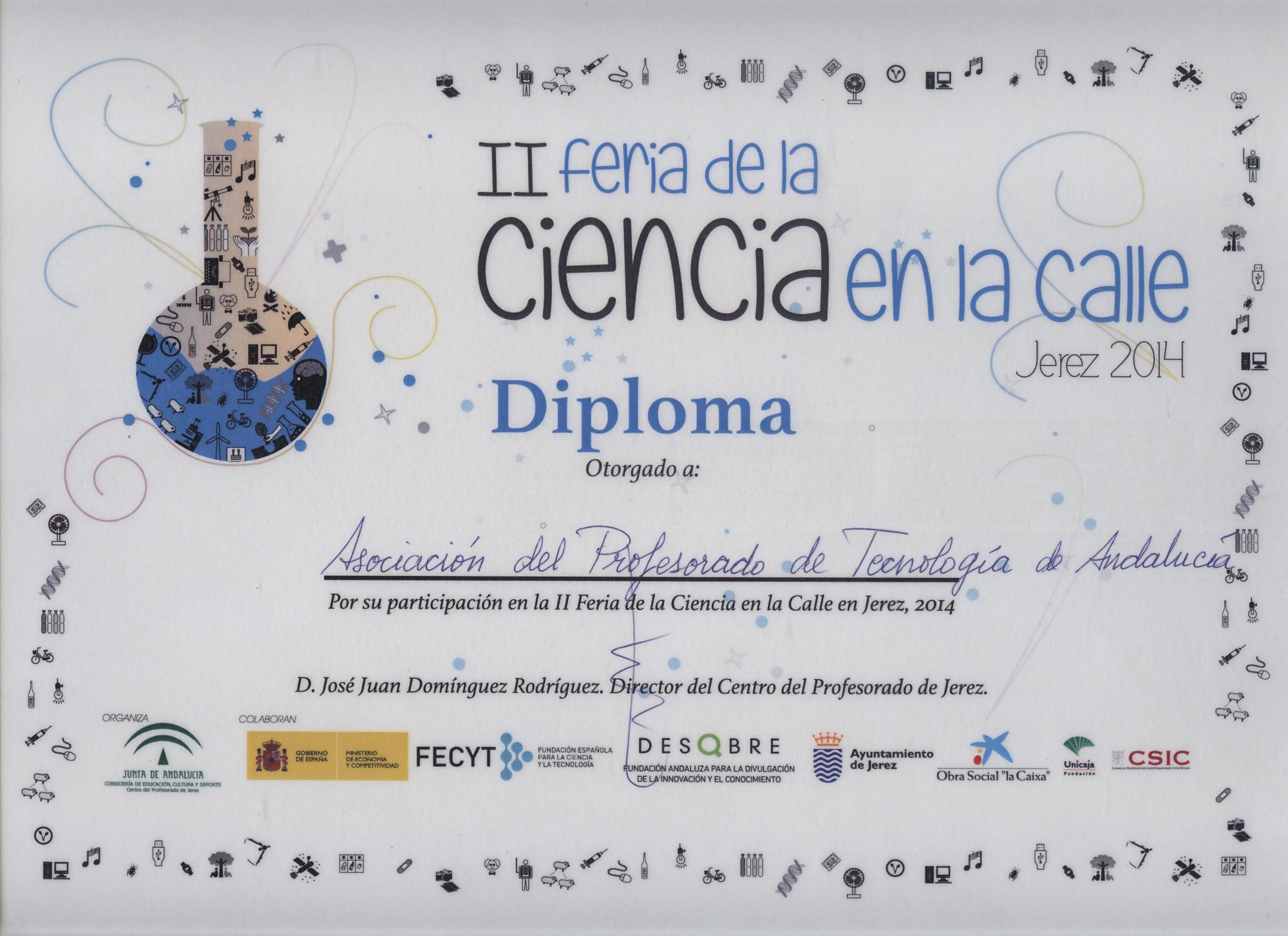 Diploma de la participación en la II Feria de la Ciencia en la calle de Jerez de la Frontera